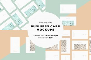 4 Flat Business Card MockUps