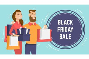 Black Friday sale modern poster template.