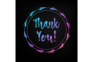 Hand lettered multicolored Thank You text.
