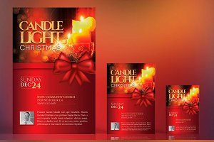 Christmas Candle Light Flyer Poster