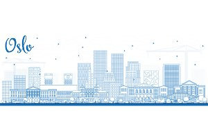 Outline Oslo Norway Skyline