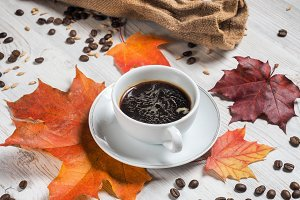 autumn hot Cup coffee