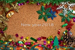 Christmas decoration and New Year 2018 concept background
