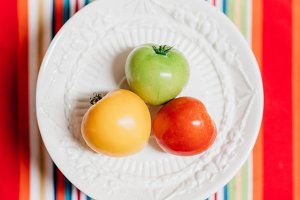 Red, Yellow, and Green tomatoes