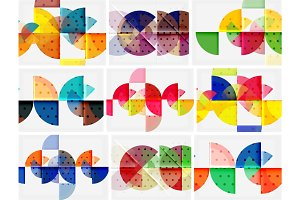 Modern round circle geometric abstract background set
