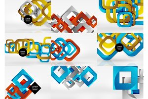 Set of 3d square abstract backgrounds