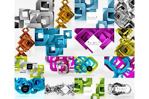 Set of objects backgrounds digital geometric