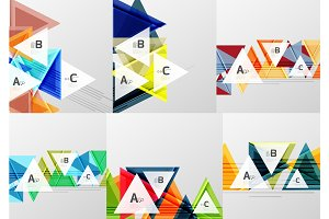 Set of triangle geometric abstract backgrounds