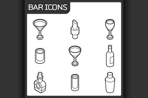 Bar outline isometric icons