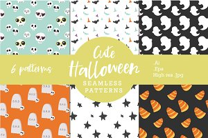 Cute Halloween Seamless Patterns