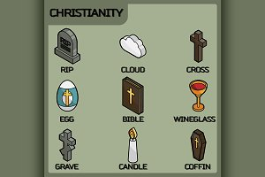 Christianity color icons