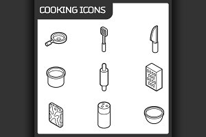 Cooking outline isometric icons