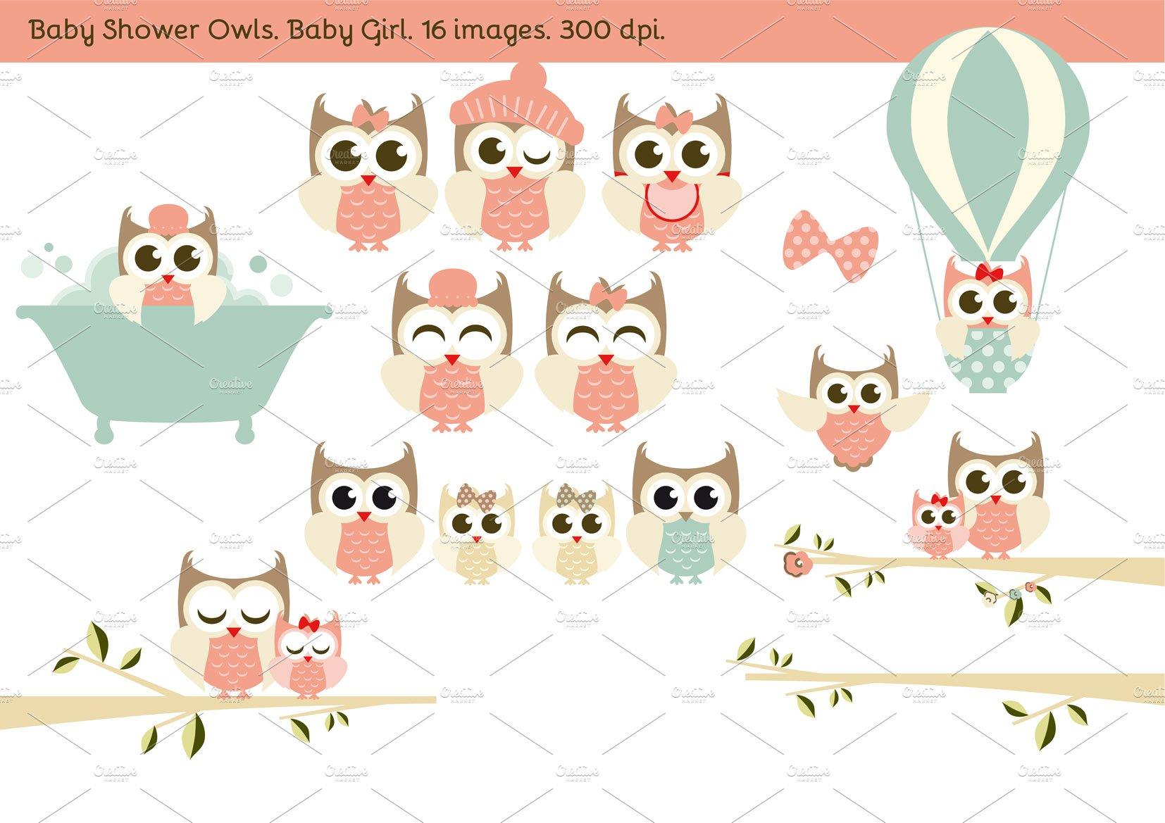 Baby Shower Owls Baby Girl Illustrations Creative Market