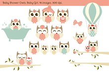 Baby Shower Owls. Baby Girl.