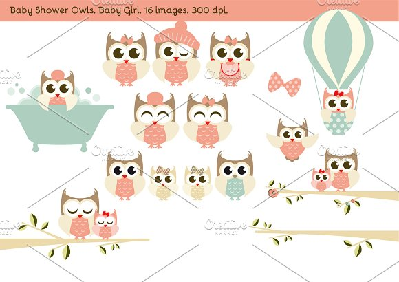 Baby Shower Owls. Baby Girl. - Illustrations