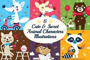 6 Cute Animal Character Illustration
