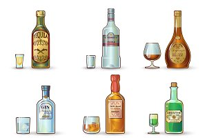 Alcohol Bottles Decorative Icons Set