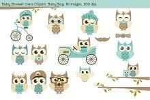 Baby Shower Owls. Baby Boy.