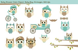 Baby Shower Owls. Baby Boy.