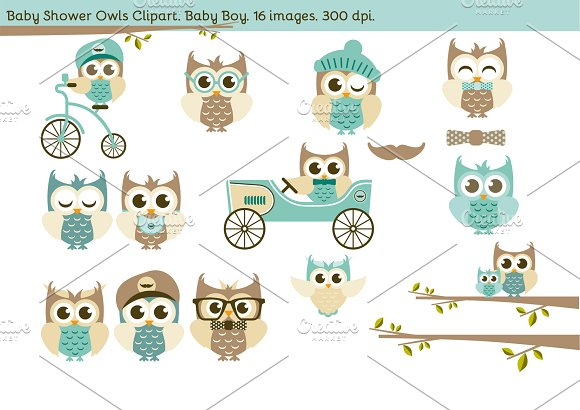 Baby Shower Owls. Baby Boy. - Illustrations