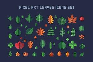 Pixel art leaves icons set
