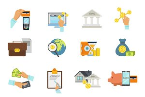 Banking Service Icon Flat Set