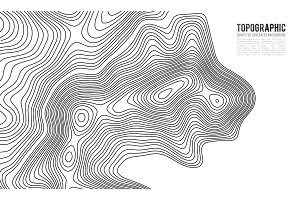 Topographic map contour background. Topo map with elevation. Contour map vector. Geographic World Topography map grid abstract vector illustration . Mountain hiking trail line map design .
