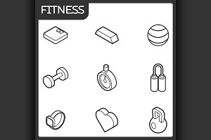 Fitness outline isometric icons