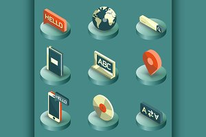 Languages color isometric icons