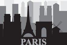 Vector set with landmarks of Paris
