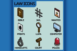 Law color outline isometric icons