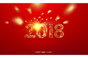 Happy new year card over red background.