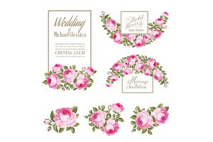 Set of wedding invitation card. The rose elegant card. A spring decorative bouquet of roses flowers. Small floral garland. Vector illustration.