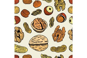 nuts vector hand drawn seamless pattern.