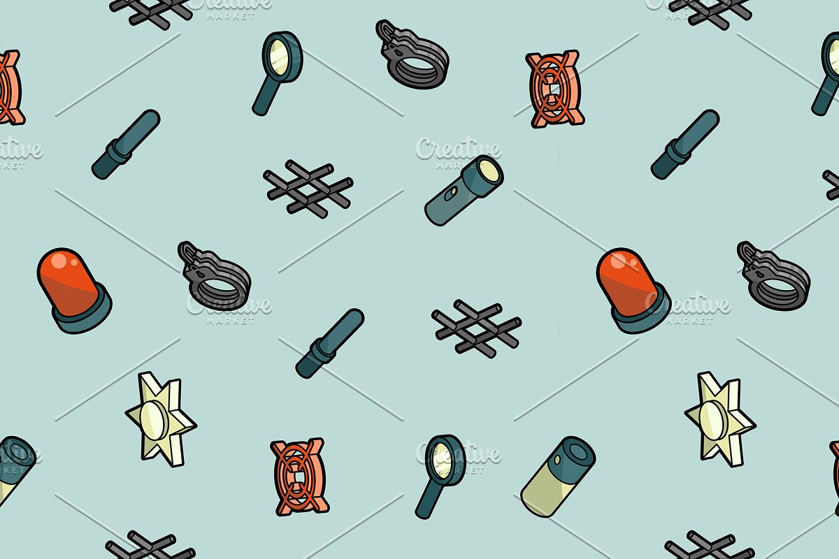 3678ce97d184e5 Police color isometric pattern ~ Graphic Patterns ~ Creative Market