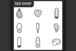 Sex shop outline isometric icons