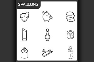 Spa outline isometric icons