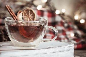 Christmas Cup with cinnamon and lemon