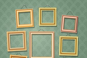 Empty cartoon photo frames