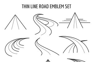 Thin line road and highway icons