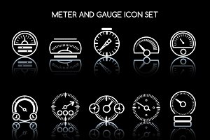 Meter and gauge icon set