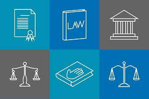 Law and justice thin line icons