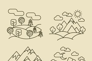Nature landscape thin line icons