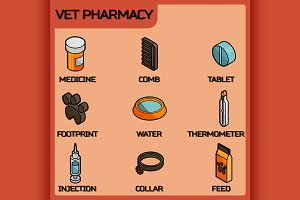Vet pharmacy isometric icons