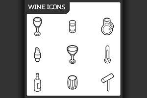 Wine outline isometric icons