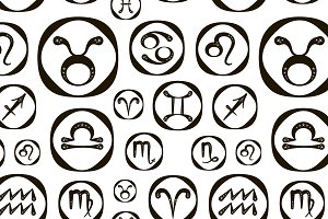 Zodiac icon set vector pattern