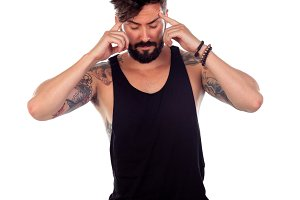 Attractive guy with beard an tattoos