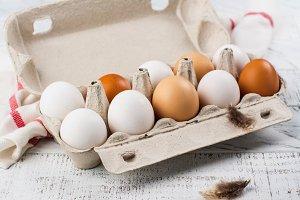 Hen eggs in a basket