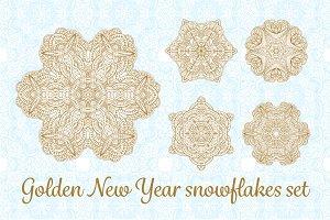 New Year snowflakes set