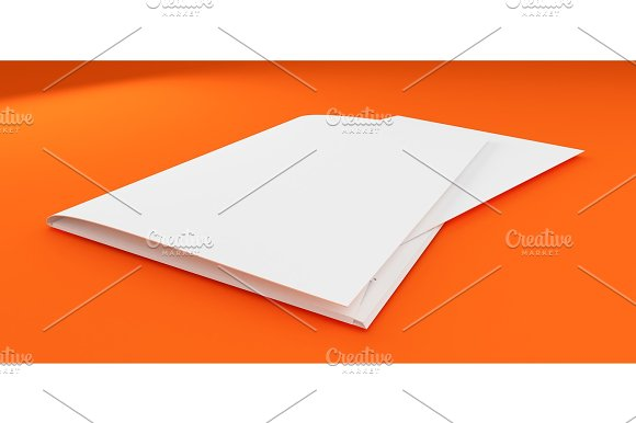3D Illustration of Brochure Template on color background